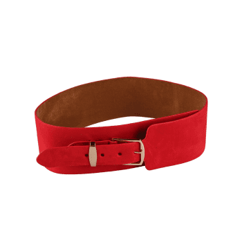 Vintage Metal Buckle Decorated Wide Waist Belt -  RED