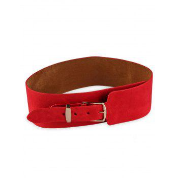 Vintage Metal Buckle Decorated Wide Waist Belt - RED RED