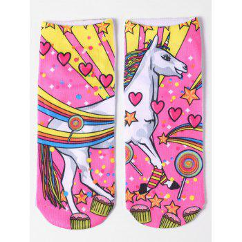 Unicorn Pattern Magical Ankle Socks - YELLOW YELLOW