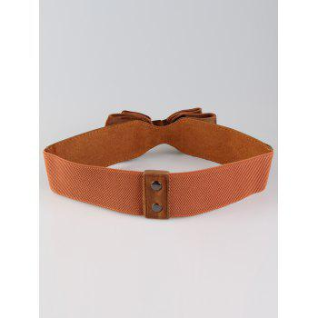 Vintage Bowknot Embellished Streth Waist Belt - BROWN