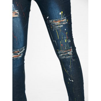 Splash Ink Printed Pencil Ripped Jeans - M M