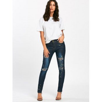Splash Ink Printed Pencil Ripped Jeans - BLUE BLUE