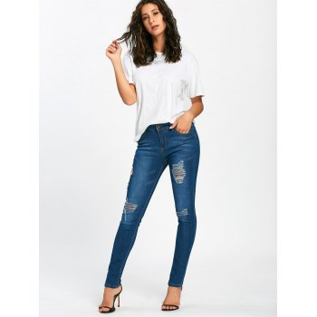 Embroidered Pencil Ripped Jeans - BLUE BLUE
