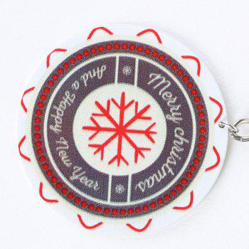 Metal Round Christmas Snowflake Key Chain - COLORMIX