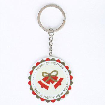 Metal Round Christmas Bell Key Chain - RED RED
