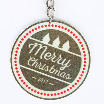 Round Christmas Letter Metal Key Chain -  BROWN