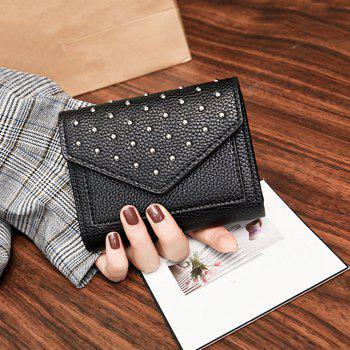 Triangle Geometric Rivets Wallet - BLACK
