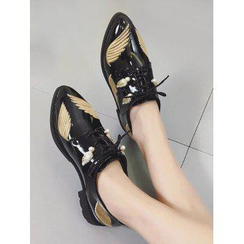 Faux Pearl Embroidery Wing Flat Shoes - Or 37