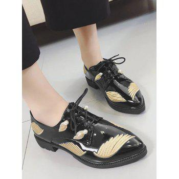 Faux Pearl Embroidery Wing Flat Shoes - Or 38