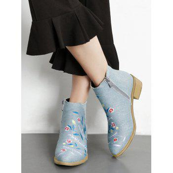 Floral Embroidery Denim Ankle Boots - LIGHT BLUE 37