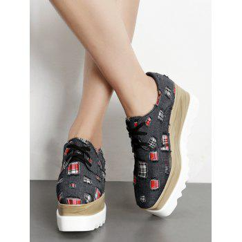 Denim Plaid Square Toe Wedge Shoes - 36 36