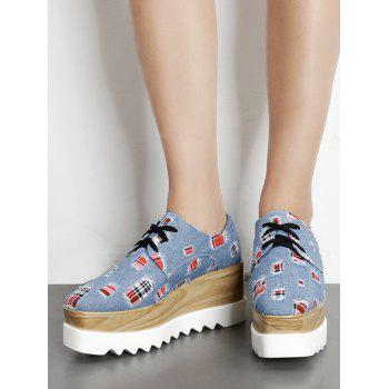 Denim Plaid Square Toe Wedge Shoes - BLUE 35