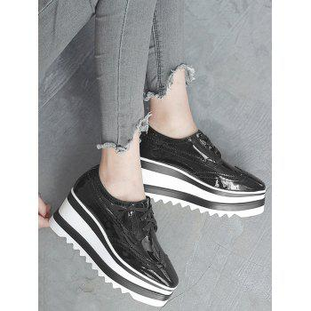 Wingtip Stitching Wedge Shoes - BLACK BLACK