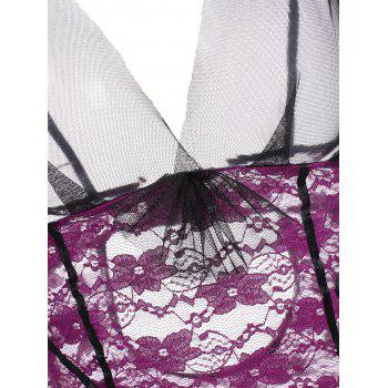 Plung Lace Sheer Garter Babydoll - Pourpre ONE SIZE