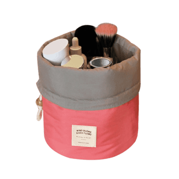 Drawstring Round Travelling Cosmetic Bag -  RED