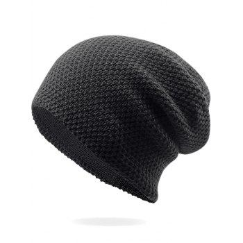 Outdoor Thicken Knit Lightweight Beanie - BLACK BLACK