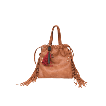 Fringe Rivet String Handbag - BROWN
