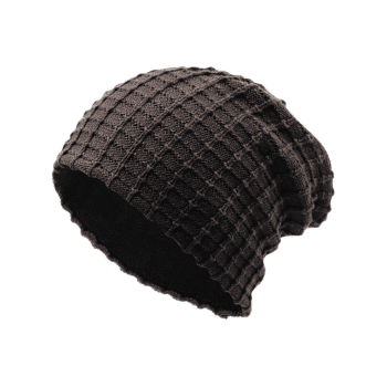 Outdoor Plaid Velvet Baggy Beanie - COFFEE