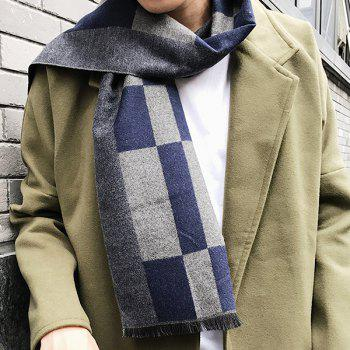 Outdoor Soft Checked Pattern Fringed Long Shawl Scarf - STONE BLUE STONE BLUE
