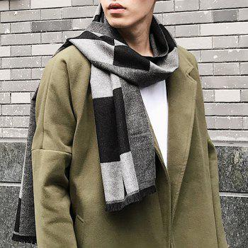 Outdoor Soft Checked Pattern Fringed Long Shawl Scarf - BLACK BLACK