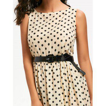 Retro Style Boat Neck Sleeveless Polka Dot Women's Dress - BEIGE M