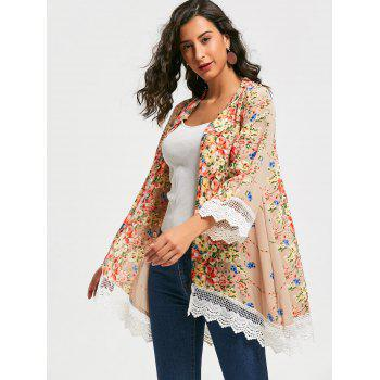 Stylish Collarless Long Sleeve Floral Print Laciness Women's Kimono Blouse - FLORAL L