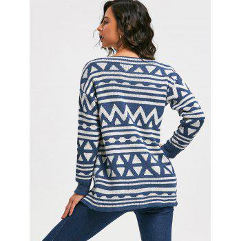 Fashionable Turn-Down Collar Geometric Pattern Long Sleeve Women's Cardigan - BLUE ONE SIZE