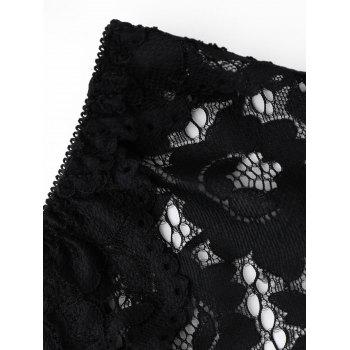 Sheer Lace Low Waist Panties - BLACK ONE SIZE