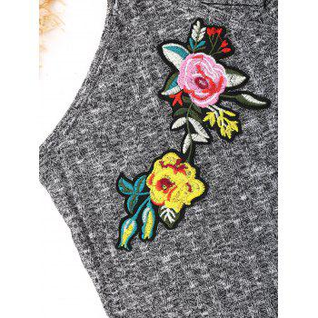 Flower Embroidered Knitted Cami Top - GRAY L
