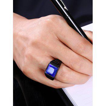 Square Faux Sapphire Finger Ring - 9 9