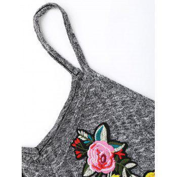 Flower Embroidered Knitted Cami Top - XL XL