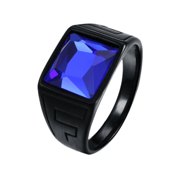 Square Faux Sapphire Finger Ring - 10 10