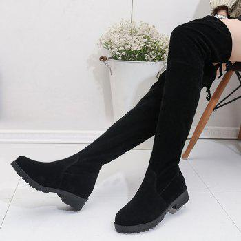 Tie-up Back Suede Over the Knee Boots - BLACK 39