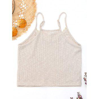 Embroidered Ribbed Knit Cami Top - LIGHT KHAKI XL