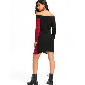 Halloween Skeleton Off The Shoulder Jumper Dress - BLACK RED BLACK RED