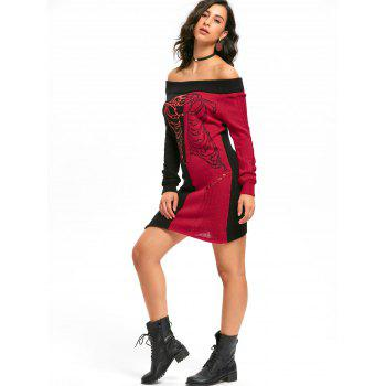 Halloween Skeleton Off The Shoulder Jumper Dress - Noir Rouge M