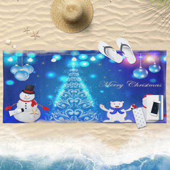 Christmas Snowman Printed Bath Towel - BLUE 75CM*150CM