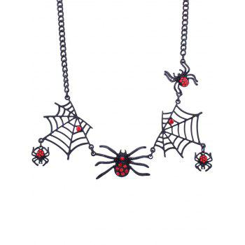 Spider and Web Halloween Charm Necklace