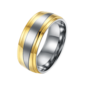 Two Tone Round Finger Ring - GOLDEN 7