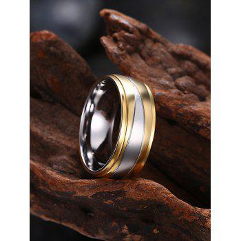 Two Tone Round Finger Ring - GOLDEN 8