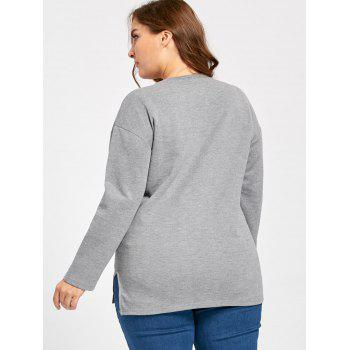 Plus Size Fox Animal Long Sleeve T-shirt - GRAY 3XL