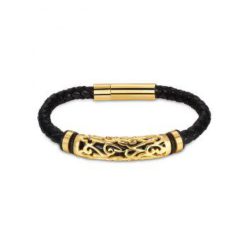 Hollow Out Carve Alloy Faux Leather Weaving Bracelet - GOLDEN GOLDEN