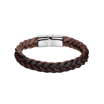 Cool Faux Leather Braid Bracelet - BROWN