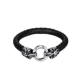 Faux Leather Halloween Skull Circle Braid Bracelet - BLACK