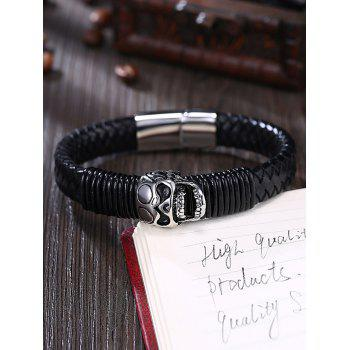 Faux Leather Braid Halloween Skull Bracelet - Noir
