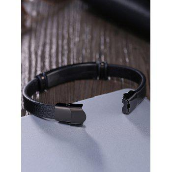 Faux Leather Vintage Bracelet -  BLACK