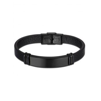 Faux Leather Vintage Bracelet - BLACK BLACK