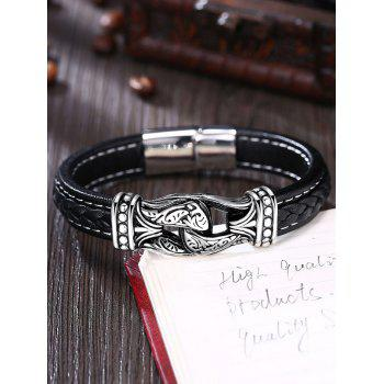 Alloy Faux Leather Braid Bracelet - BLACK