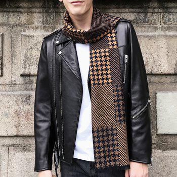 Houndstooth and Cheveron Pattern Fringed Scarf - BROWN
