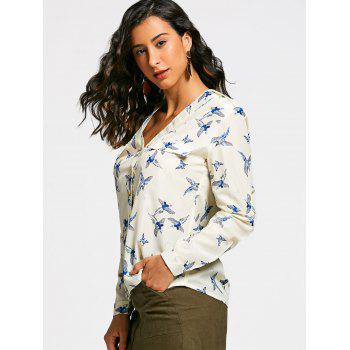 V Neck Full Bird Print Long Sleeve Shirt - XL XL